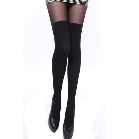 Sexy Women Tights Over Knee Double Stripe Sheer Black Temptation Sheer Mock Suspender Patchwork Pantyhose Tights