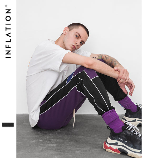 INFLATION Patchwork Joggers Sweatpants Men's Hip hop Swag 2018 Fashion Track Trousers Male Streetwear Elastic Waist Pants 8840W