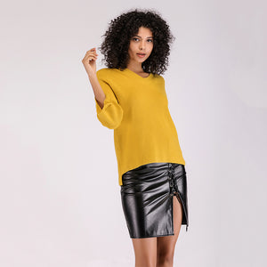 b3fb0f78a0 Simenual Casual v neck yellow sweater ladies solid slim jumper pull femme  2018 autumn pullovers women