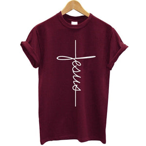 Fashion New Arrival Women T Shirts Summer Short Sleeve Jesus T-shirt Christian Cross Printing Tops Female Tee Shirt Plus Size
