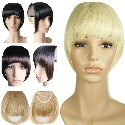 S-noilite Short Front Neat bangs Clip in bang fringe Hair extensions straight Synthetic 100% Real Natural hairpiece