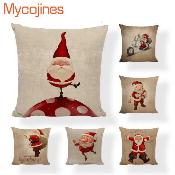 Lovely Santa Claus Pillowcase Merry Christmas Letter Bell Cushion Cover Star Vintage Bicycle Living Room Decorative Beer Pillows