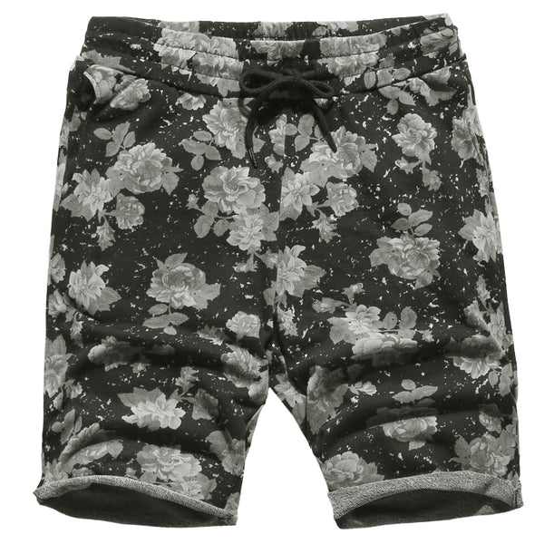 Men summer New hot sale printed flower casual loose black quick dry shorts men cotton fashion European style beach shorts K819