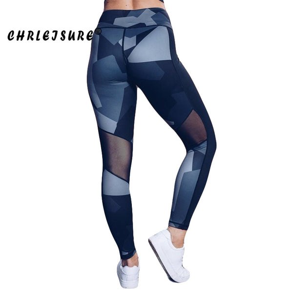 CHRLEISURE Mesh Leggings Women 2018 Digital Print Legging Europe The United States Stitching Conventional Breathable Hip Pants