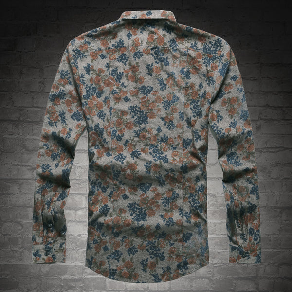 2018 New Fashion Casual Men Shirt Long Sleeve Europe Style Slim Fit Shirt Men High Quality Cotton Floral Shirts Mens Clothes