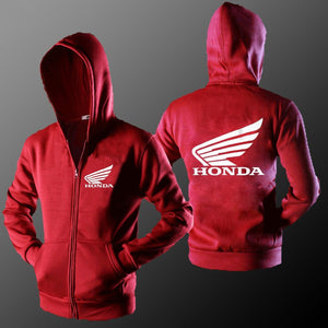 Hot New Men Hoodies Autumn Wear Honda Logo Printed Men's Zipper Hoodies Men's Long Sleeve Sweatshirts Motorcycle Jacket