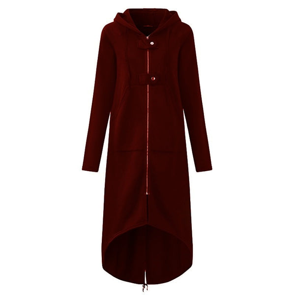 LOSSKY Fashion Long Sleeve Hooded Trench Coat 2018 Autumn Black Zipper Plus Size 5XL Velvet Long Coat Women Overcoat Clothes