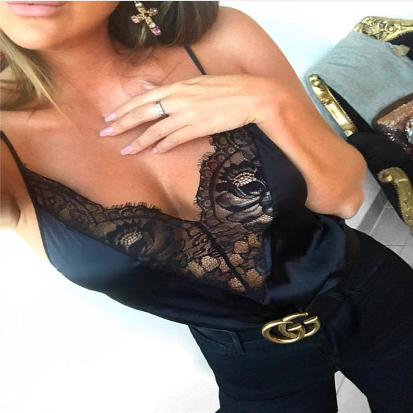 New Trendy Women clothes Summer Lace Sleeveless V-neck pullover Blouse sexy Casual Geometry Shirts one pieces
