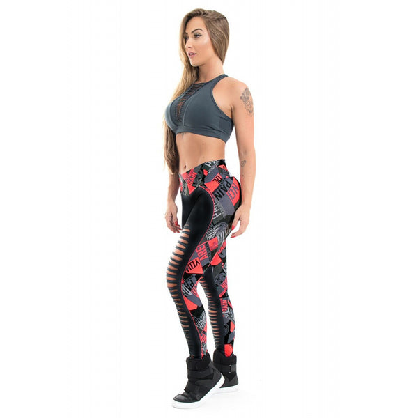 Fashion Patchwork Sexy Hollow Out Printed Women Leggings - EconomicShopping