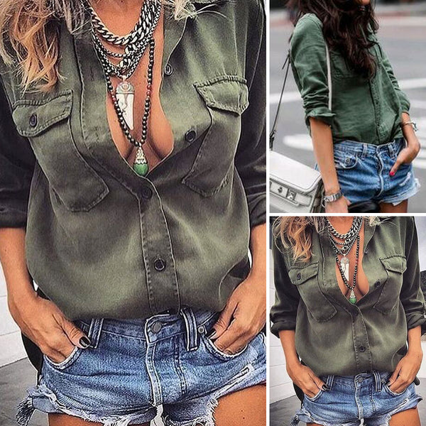 2018 Fashion Casual Women Ladies Blouses Shirts Cotton Long Sleeve Turn-down Collar Loose Tops Summer Autumn Clothes Green