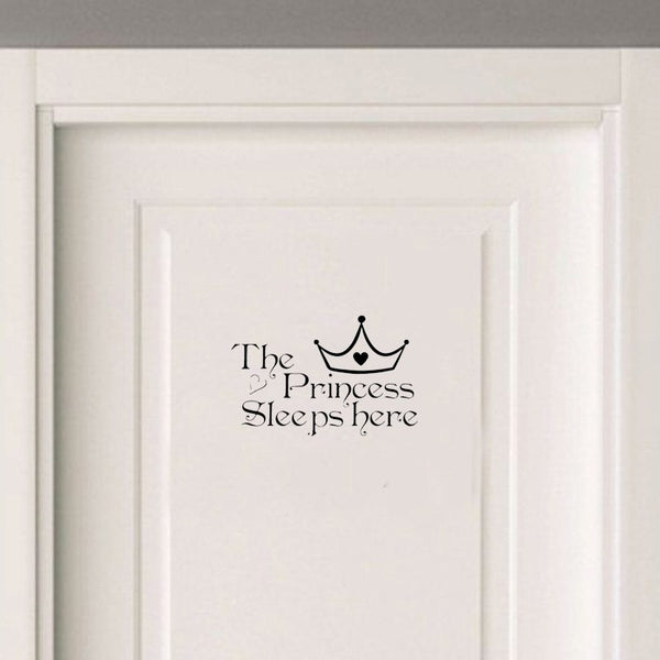 Bedroom The Princess Sleeps Here Vinyl Door Sticker Removable Home Decoration Wall Sticker Home Decor Living Room A2234