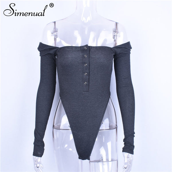 Simenual Buttons autumn bodysuit women clothing square collar body jumpsuits fashion slim sexy hot one piece bodysuits high cut