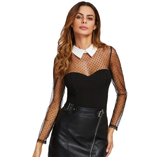 Polka Dot Mesh Yoke and Sleeve Contrast Collar Bodysuit
