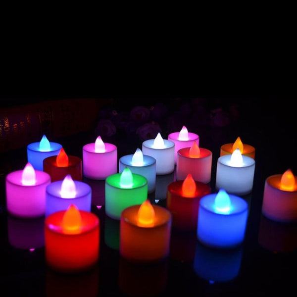 LED Tea Candle Lamps Christmas Multicolor Simulation Color Flame Flashing Lights Home Wedding Birthday Party Deco Holiday Lights