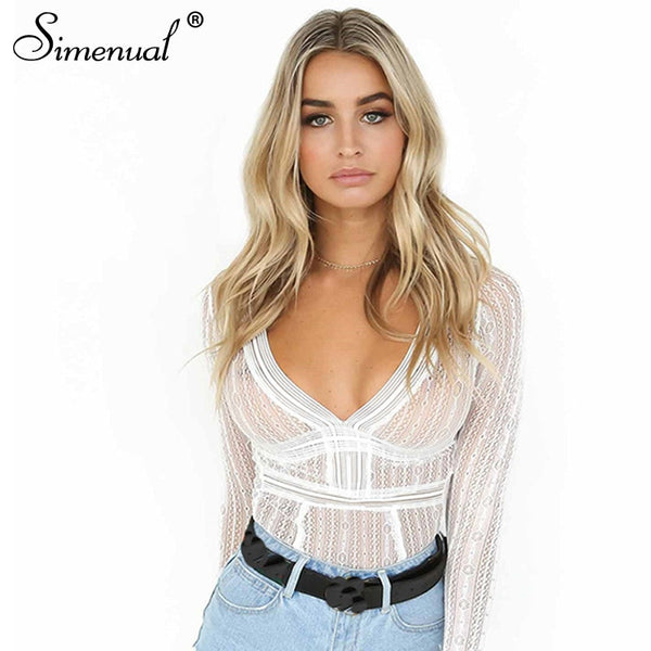 Backless Long Sleeve Lace Bodysuit - EconomicShopping