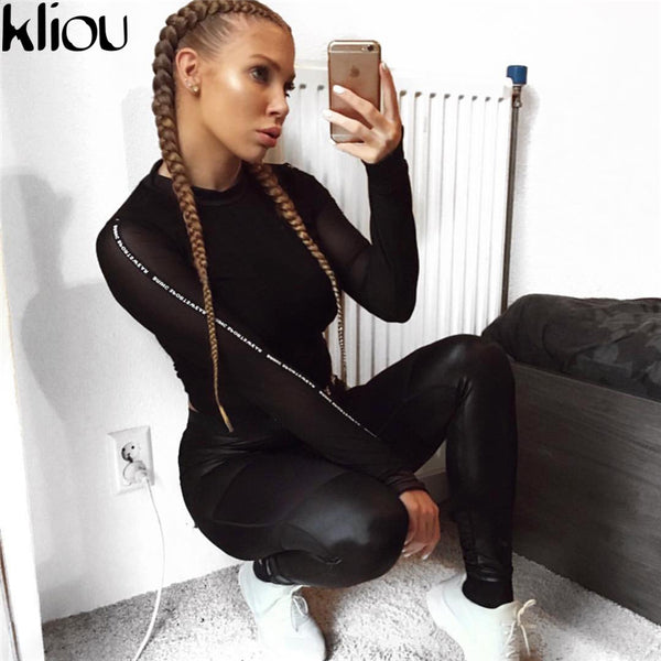 Kliou 2018 PU Leather Patchwork Skinny Long Pants Women Black Heart Shape Booty Leggings Push Up Workout Sporting Leggings