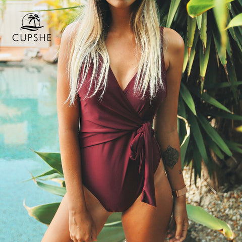 CUPSHE Solid Low Back One-piece Swimsuit Women Burgundy Deep V neck Monokini 2018 Girl Beach Padded Bathing Suit Swimwear