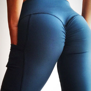 2018 New Slim Push Up Leggings Women High Waist Yoga Pants with Pocket Elastic Sexy Scrunch Butt Leggings