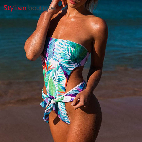 2018 Sexy Floral Jungle Bathing Suit Bow Knot Thong Monokini High Leg Cut Out Swimwear Trikini Women Bandeau One Piece Swimsuit