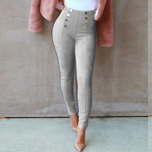 2018 spring autumn winter suede leather women pants high waist elastic slim retro pencil suede trousers gray faux suede leggings