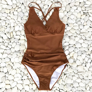Caramel Ruched One-Piece Swimsuit