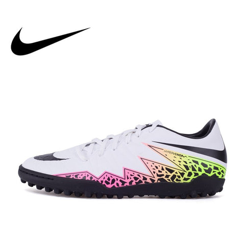 Original NIKE Men's HYPERVENOM PHELON II TF Light Comfortable Football Soccer Shoes Outdoor Lawn Breathable Sneakers Narrow