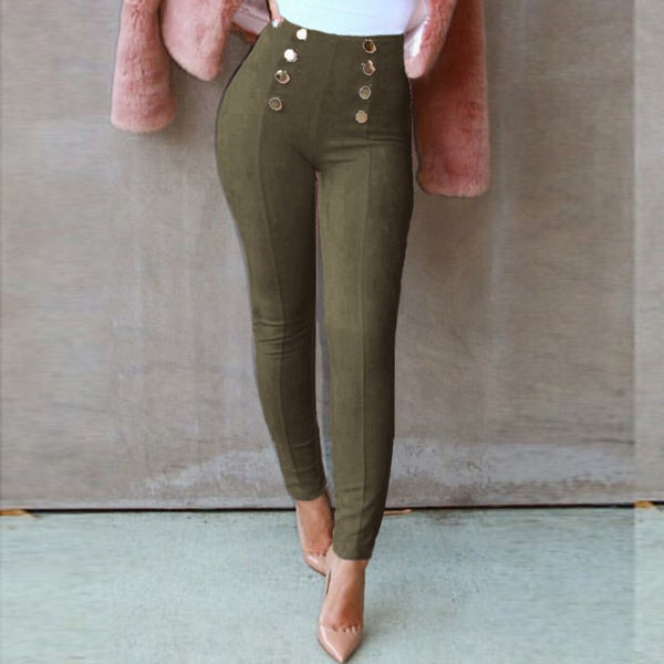 Suede Leather Women Pants