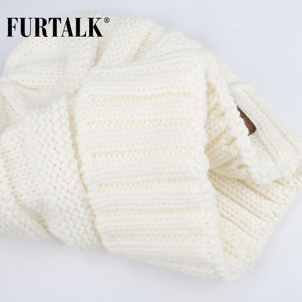 FURTALK Winter Knitted Women Hat Slouchy Beanie for Girls Skullies Cap A047