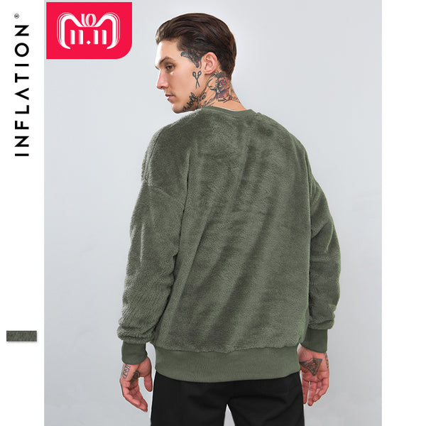 INFLATION Men Hooded Casual Winter Autumn Warm O-neck Sweatshirt Male Velvet Male Sweatshirts Pullover Male Clothing 8782W