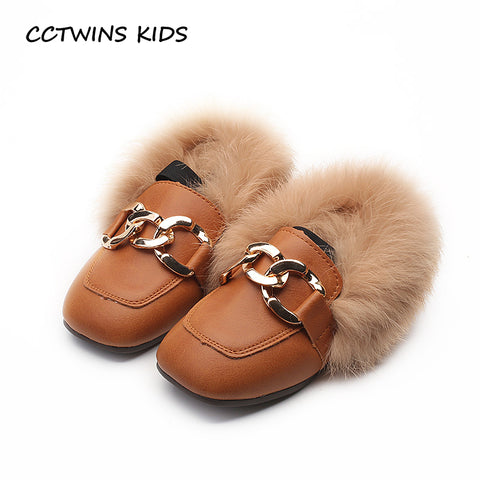 CCTWINS KIDS 2018 Toddler Chain Baby Girl Black Shoe Children Fashion Pink Warm Flat Kid Brand Pu Leather Camel Loafer G1536