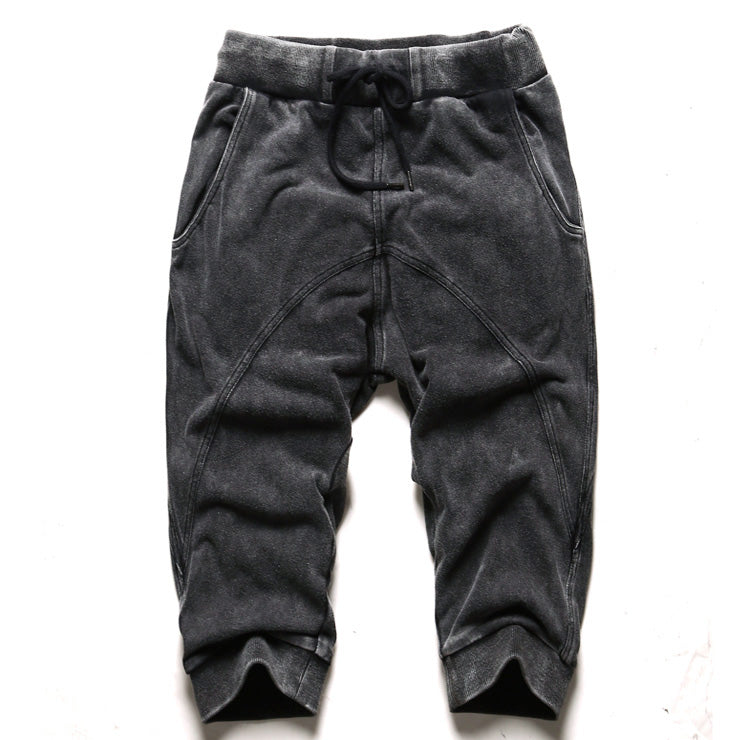 Men's Retro Washed Knee-Length Pants