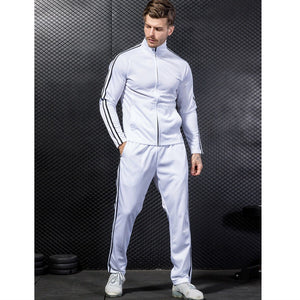 MA56 Running Set Jacket+Pant Men's Sports Suit Football Fitness Gym Clothing Set Men Tracksuit Athleisure Suits Stripe Fleece