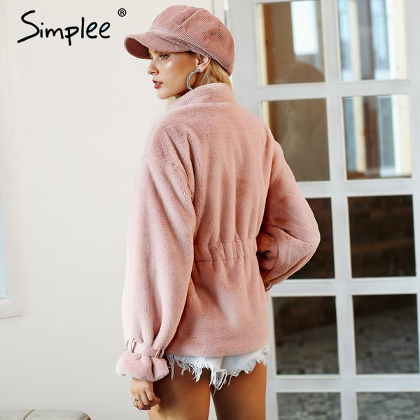 4bcdfc2f1db ... Simplee Elegant faux fur coat women 2018 Autumn winter warm soft zipper  fluffy fur jacket Female ...