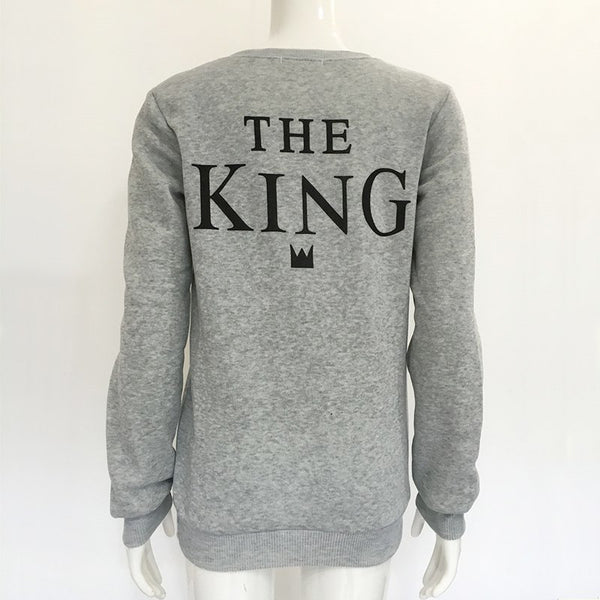 Autumn Cotton King Queen Letter Printed Women Hoodies Pullover Streetwear O Neck Long Sleeve Sweatshirt Hoody for Female Tops - EconomicShopping