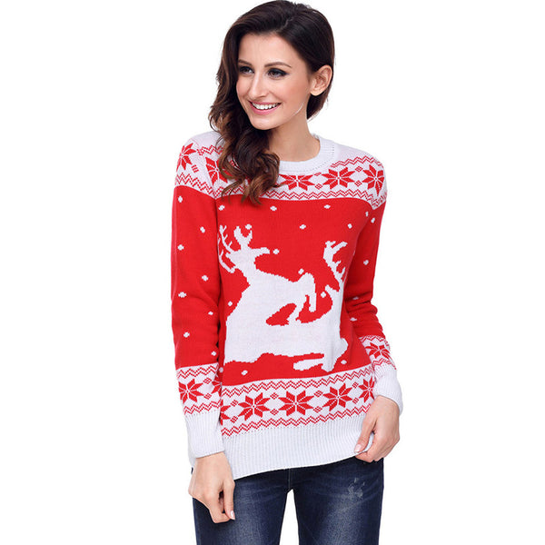Simenual 2018 Fashion Santa christmas sweater ladies deers snowflake red women sweaters and pullovers knitwear jumper winter new