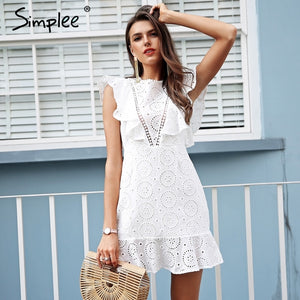 b0077aefb2cc Simplee Embroidery cotton white dress women Ruffle sleeve high waist short  dress 2018 Keyhole back casual
