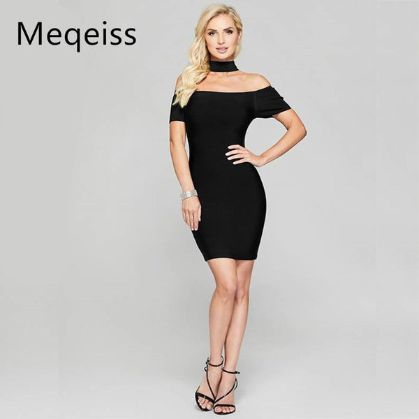 MEQEIS Black Women Dress Choker Bodycon Mini Night Out Boat Neck Off the Shoulder Short Sleeve Sexy Party Bandage Dresses