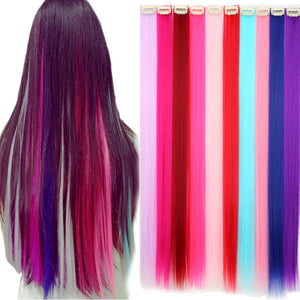 SNOILITE 5pcs/lot Long Straight Women Synthetic Clip in Hair Extension rainbow Hairpiece purple pink rose colored hair extension