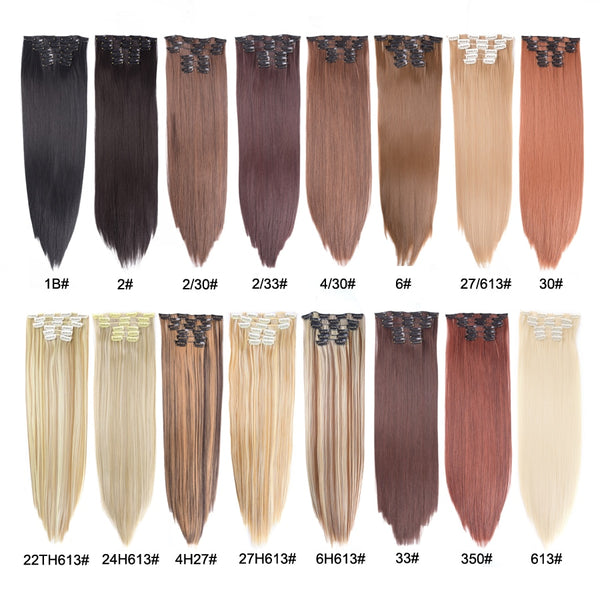 Leeons 16 colors 16 clips Long Straight Synthetic Hair Extensions Clips in High Temperature Fiber Black Blonde Hairpiece
