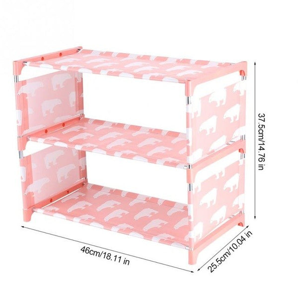 3 Tiers Non-woven Fabric Standing Shoe Rack