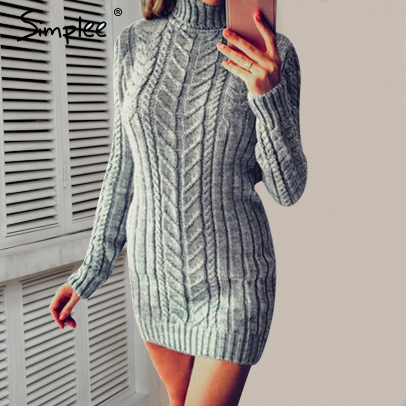f624fdd02fa ... Simplee Casual twist turtleneck knitted sweater dress Plus size o neck bodycon  sexy dress female 2018 ...