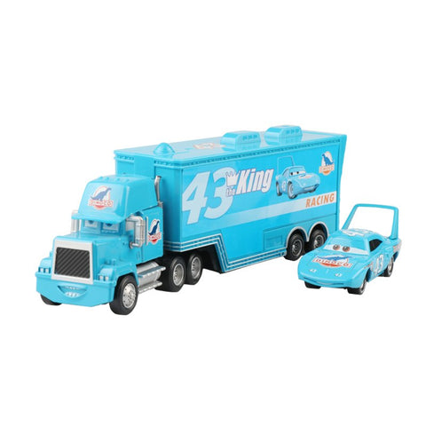 Disney Pixar Cars 2 Toys 2pcs Lightning McQueen Mack Truck The King Uncle 1:55 Diecast Metal Alloy Modle Toys Gifts For Kids