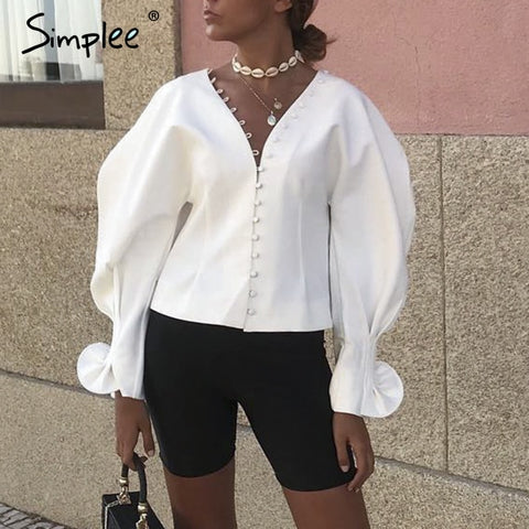 Simplee Sexy v neck women blouse shirt Lantern sleeve white blouse top shirt Autumn 2018 korean fashion womens tops and blouses