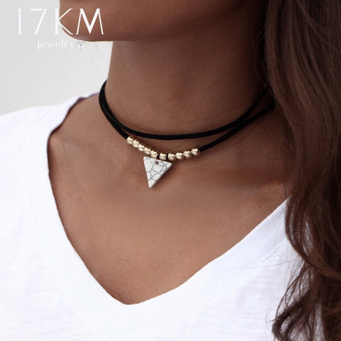 4be8c46d49e 17KM Triangle Stone Choker Double Layer Unicorn Necklaces for Women Fashion  Beads Pendant Collier Leather Necklace
