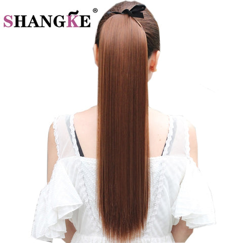 SHANGKE Hair 22'' Long Straight Ponytails Clip In Ponytail Drawstring Synthetic Pony Tail Heat Resistant Fake Hair Extensions