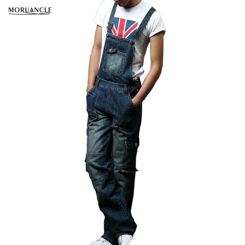 MORUANCLE New Men's Denim Bib Overalls Fashion Cargo Jeans Jumpsuits Suspender Pants For Big And Tall Super Size M-8XL