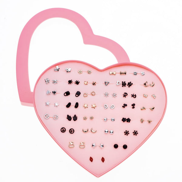 36 Pairs/Set Mixed Style Anti Allergic Cute Stud Earrings Set Gold Silver Color Alloy Earring Fashion Jewelry Gift For Girl