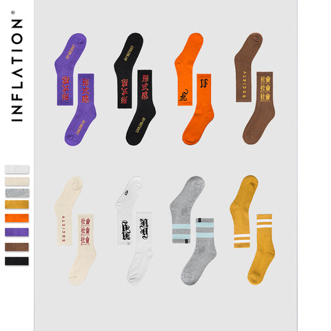 INFLATION Package sale 2018 men women socks letter printed socks hip hop streetwear ins casual trendy crew socks 10 Pairs/lot