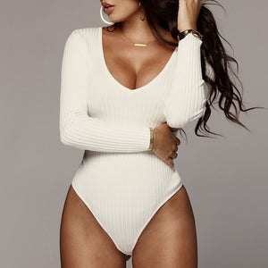 One Piece Women Swimsuit Long Sleeve Body Suit V-neck Swimwear Solid Strape Jumpsuit Rompers Cotton Sexy Bodysuit Brand Palysuit