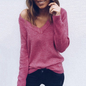 women Wool Sweater V-Neck Long Sleeve Pullovers Knitted Sweater Women Loose  Soft Smooth Warm Sweater